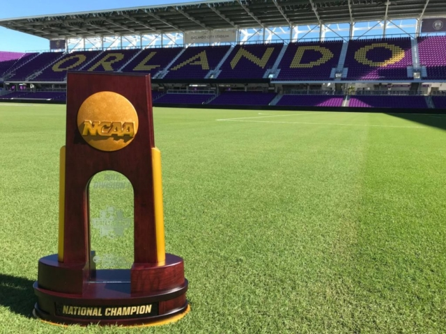 The 2017 NCAA National Championship trophy on display before the Women's College Cup games begin at Orlando City Stadium in Downtown Orlando, Florida