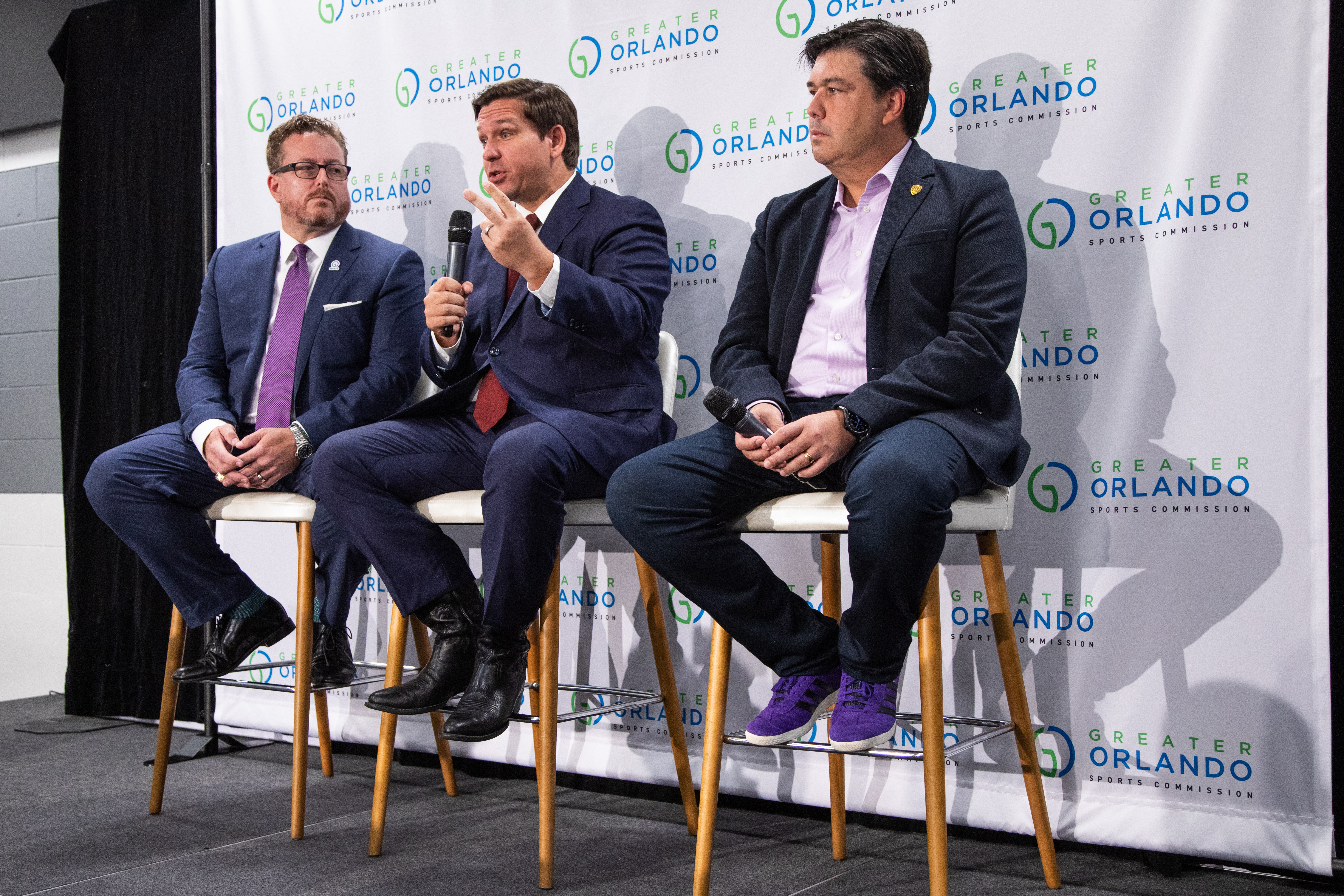 Jason Siegel, Governor Ron DeSantis and Alex Leitao speak to media prior to the 2019 MLS All-Star Game