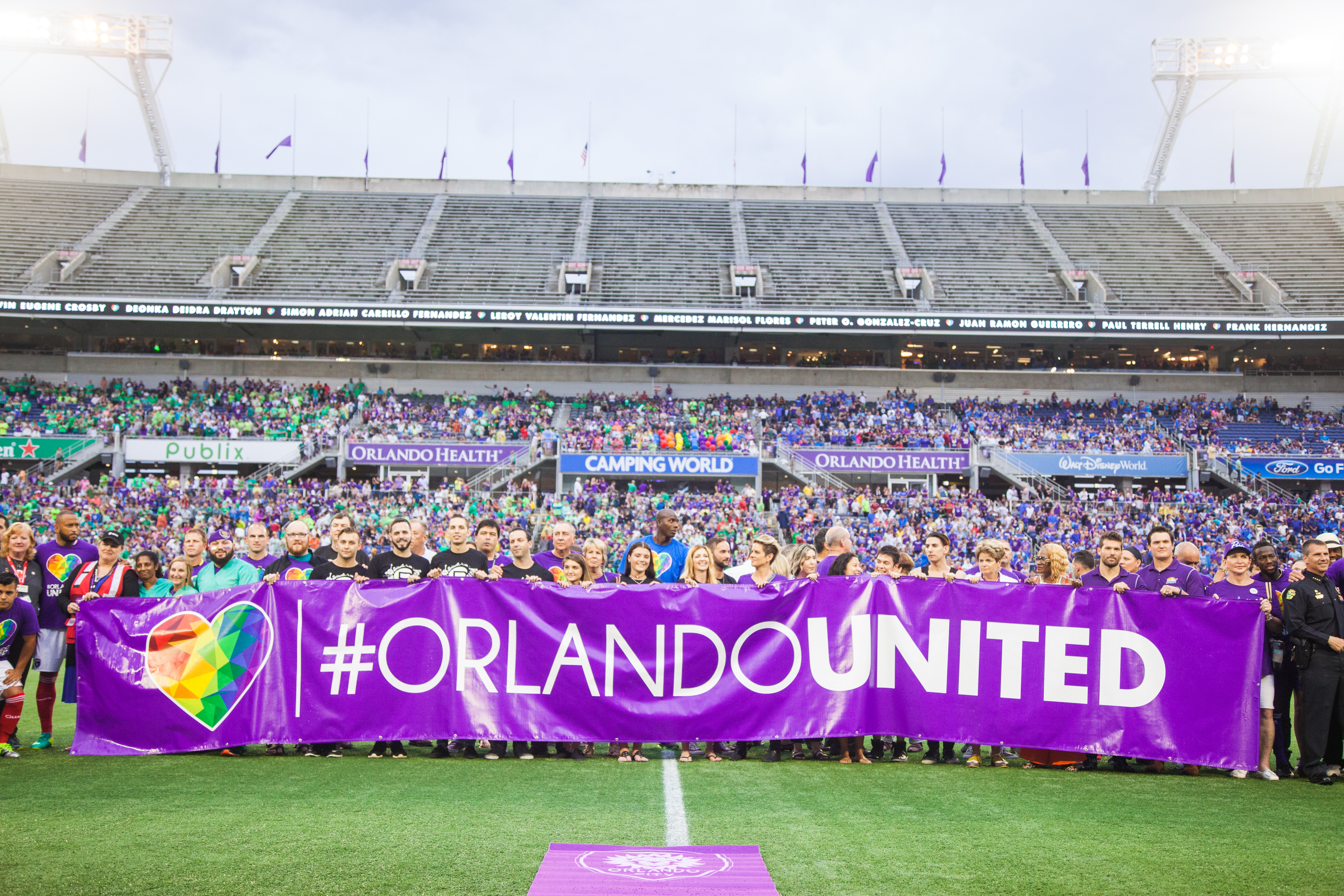 #OrlandoUnited Pulse Tribute The first home match after the tragedy at Pulse Nightclub. Orlando City SC vs San Jose at Camping World Stadium in Orlando, Florida on June 18, 2016