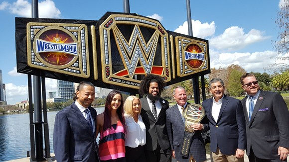 WWE Belt at Lake Eola as a lead up to WrestleMania 33 in Orlando, Florida